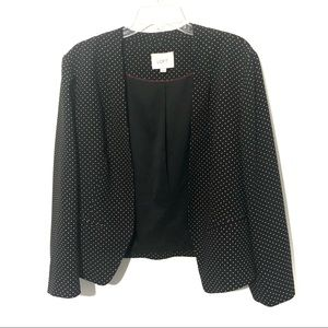 Loft polka dot open front blazer collar-less